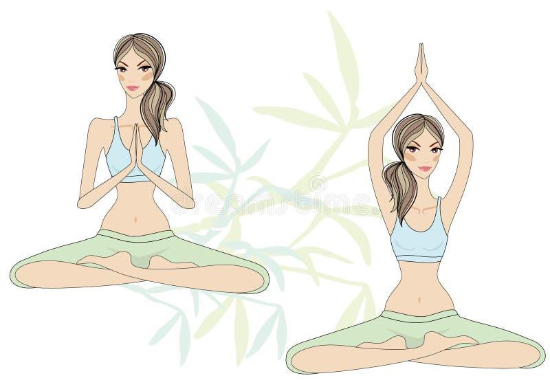 Filles de yoga illustration stock