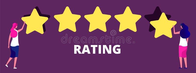 Filles donnant le rang de cinq étoiles La meilleure qualité de travail, le retour ou le concept de évaluation de vecteur illustration de vecteur