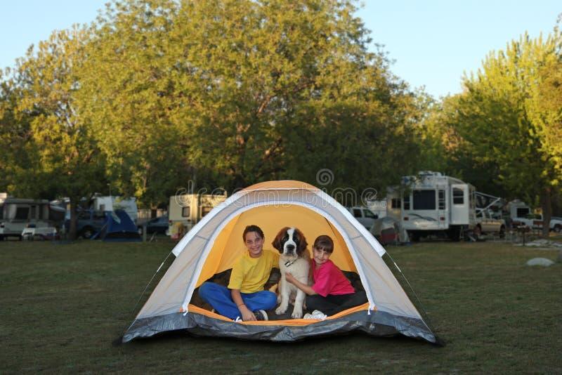 Filles et crabot dans une tente tout en campant images stock