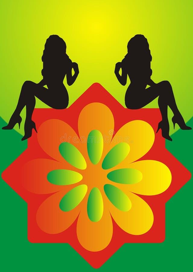 Filles et fleur illustration de vecteur