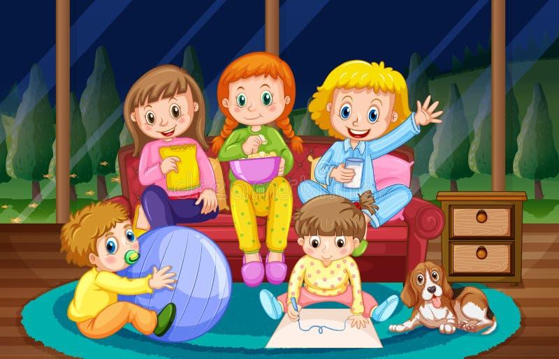 Filles et garçon dans des pyjamas la nuit illustration stock