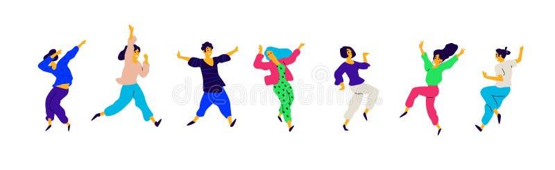 Filles et garçons sur le positif, une charge d'énergie Vecteur Illustrations des mâles et des femelles Style plat Un groupe d'heu illustration stock
