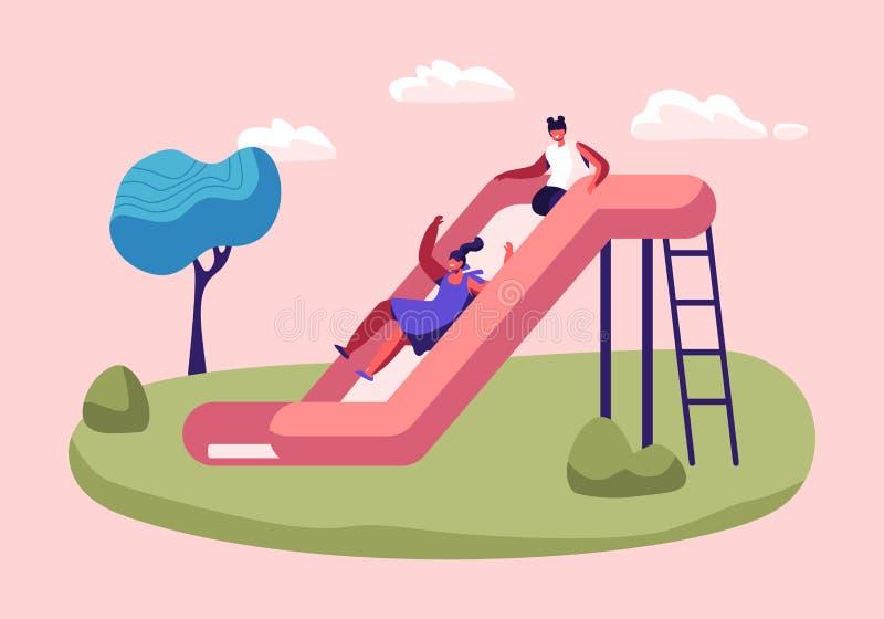 Filles heureuses d'enfants ayant l'amusement glissant sur le terrain de jeu extérieur Sourire d'enfants, jouant sur la glissière, illustration de vecteur