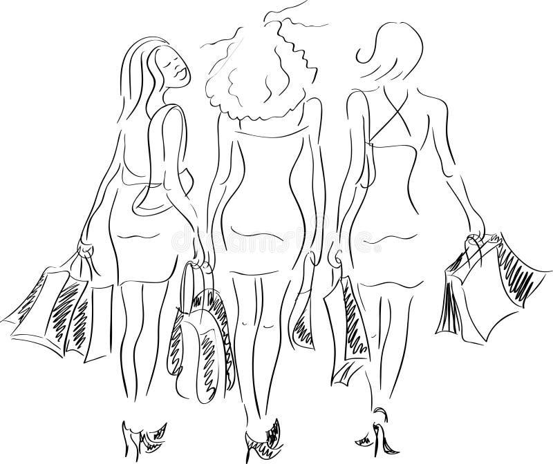 Filles heureuses de Shoping illustration stock