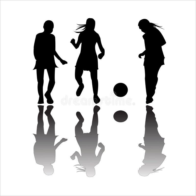 Filles jouant au football illustration stock