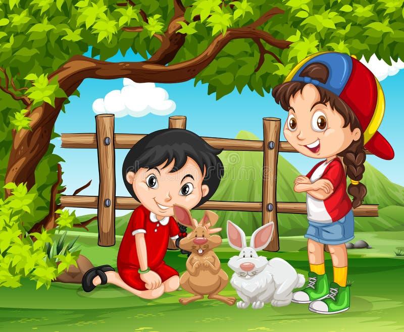 Filles jouant avec des lapins dans la ferme illustration stock