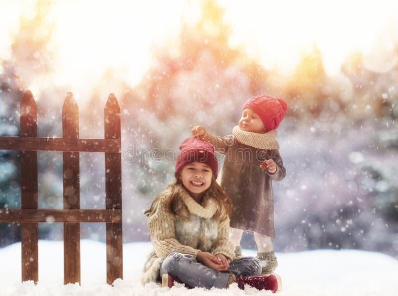 Filles jouant sur une promenade d'hiver images libres de droits