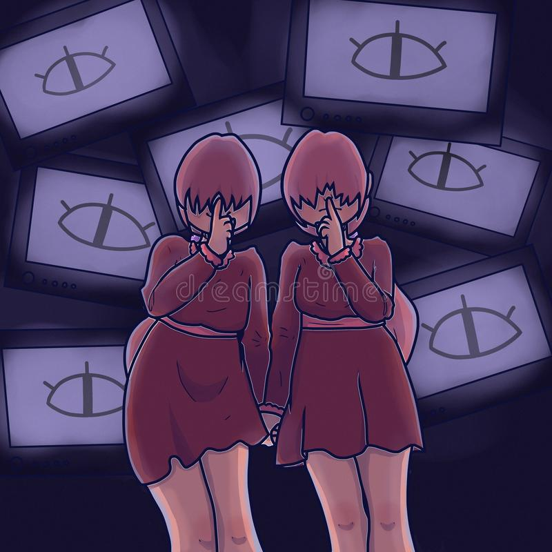 Filles jumelles Amies de l'adolescence H?ros de bande dessin?e La parole, agrafe avec des TV image libre de droits