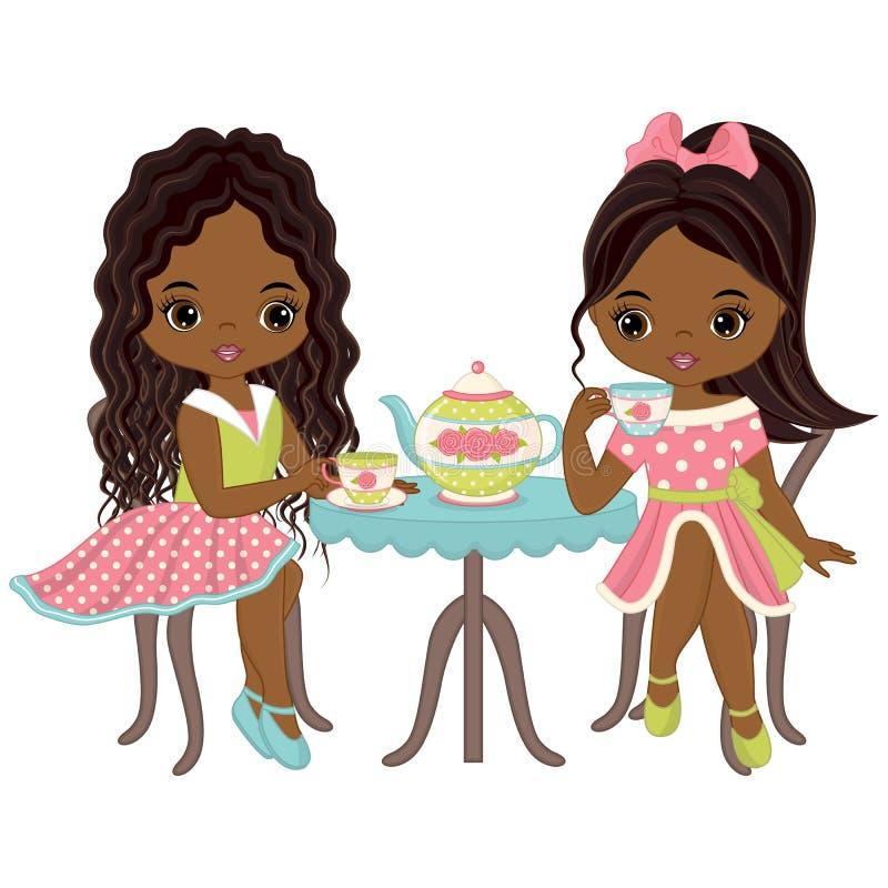 Filles mignonnes d'Afro-américain de vecteur petites ayant le thé illustration libre de droits