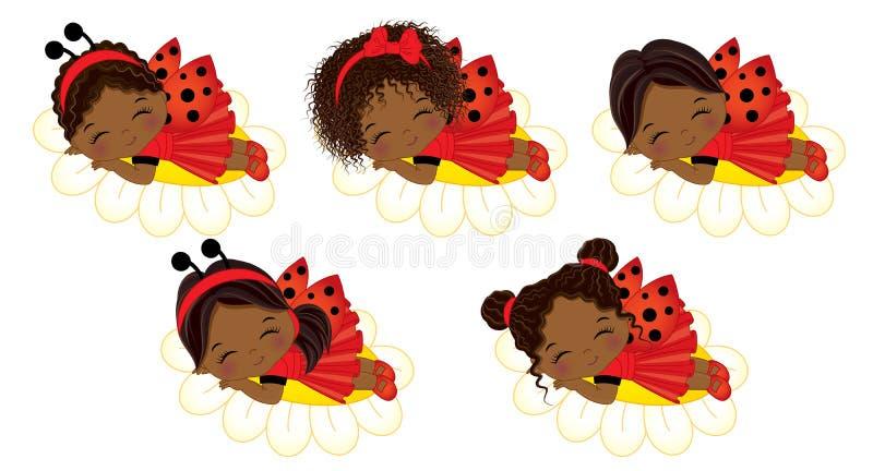 Filles mignonnes d'Afro-américain de vecteur petites dormant sur des fleurs illustration stock