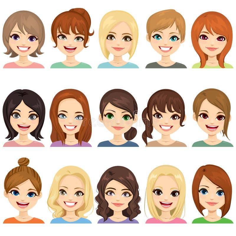 Filles mignonnes d'avatar illustration de vecteur