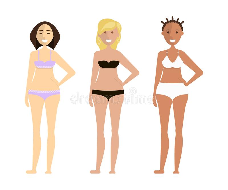Filles mignonnes de mode dans le bikini illustration libre de droits