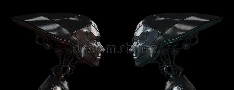 Filles robotiques en acier élégantes illustration de vecteur