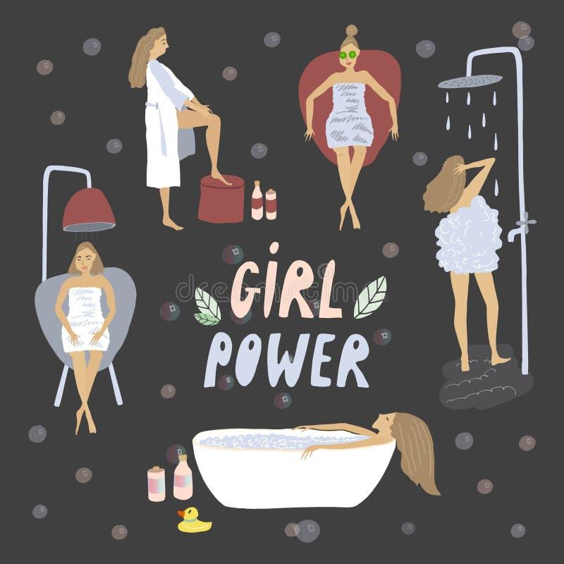 Filles s'inquiétant de lui-même Bath et douche détendent Illustration de vecteur de soins de la peau illustration libre de droits