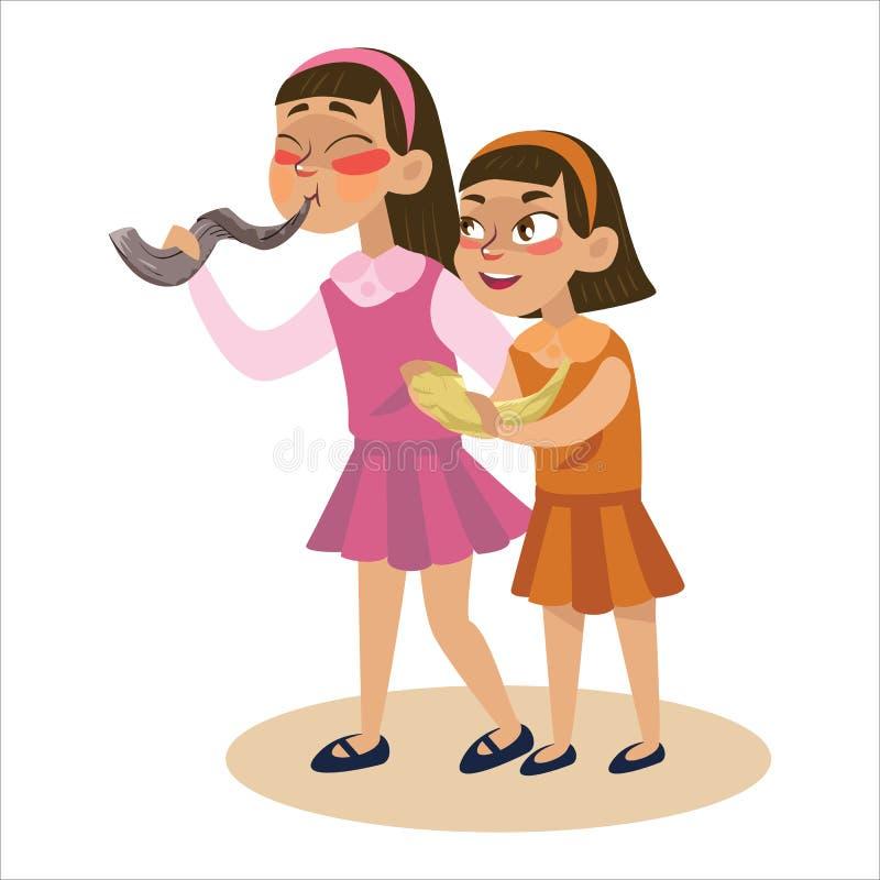Filles soufflant le klaxon de Shofar pendant la nouvelle année juive, vacances de Rosh Hashanah, bande dessinée d'illustration de illustration de vecteur