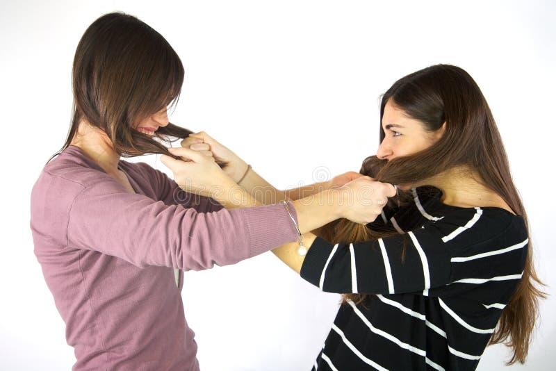 Filles tirant chaque autres cheveux d'isolement images stock