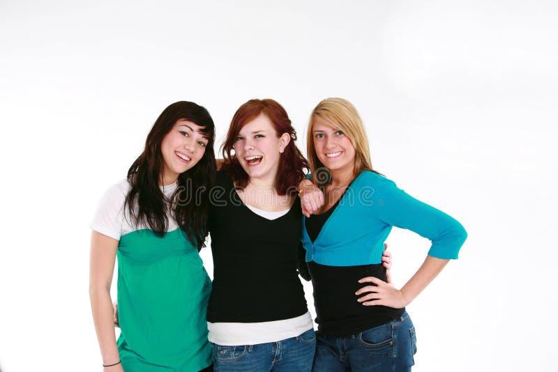 filles trois de l'adolescence heureux photo libre de droits