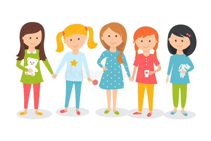 Filles utilisant des pyjamas Enfants Sleepover ou soirée pyjamas illustration stock