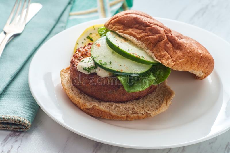 Fillet Fish Cake Sandwich stock photo