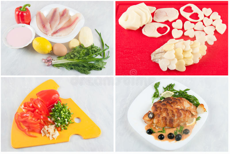 Fillet of fish with potato scales stock image