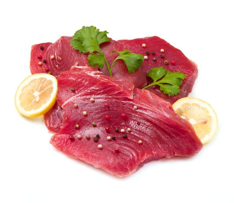 Fillet of fresh tuna. On white background stock photo