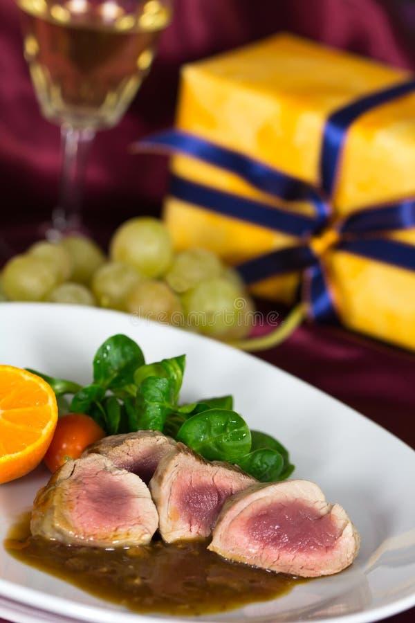 A Fillet Mignon, festive Table. Fillet Mignon Dumplings , festive Table stock photos