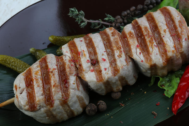 Fillet mignon. Grilled pork Fillet mignon with herbs and spices stock photo