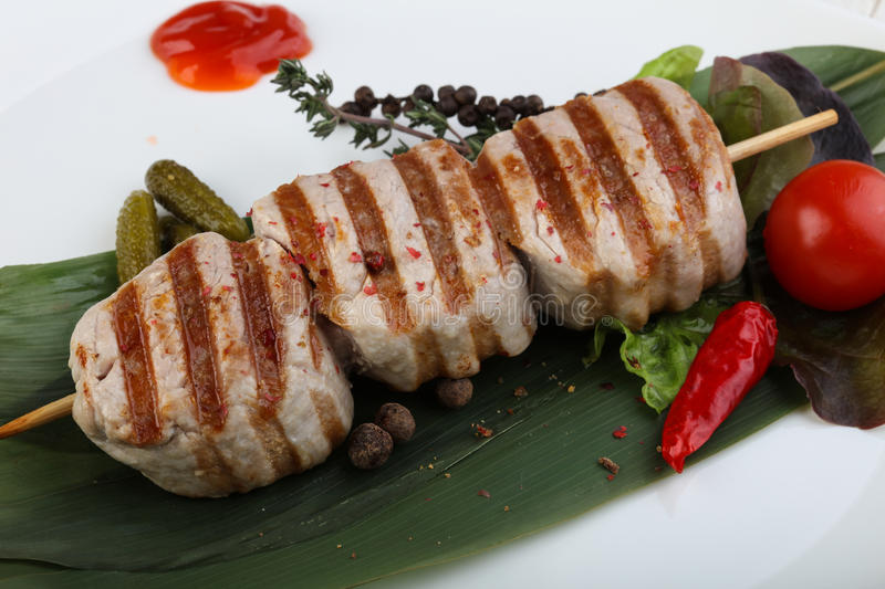 Fillet mignon. Grilled pork Fillet mignon with herbs and spices stock image