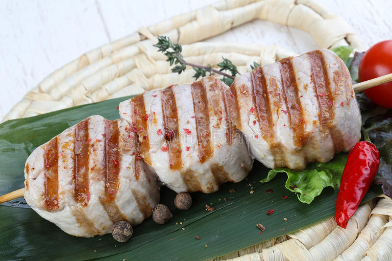 Fillet mignon. Grilled pork Fillet mignon with herbs and spices royalty free stock photo