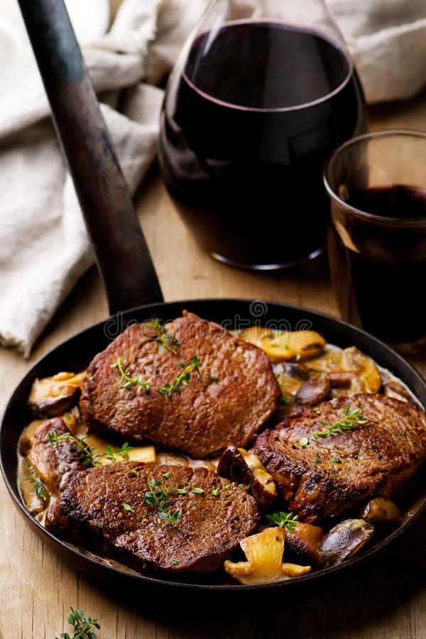 Fillet Mignon in Mushroom Wine Sauce. Selective focus royalty free stock images