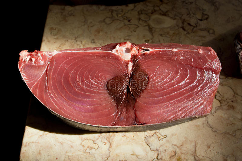 Fillet of Red Tuna Fish. At the market stock images