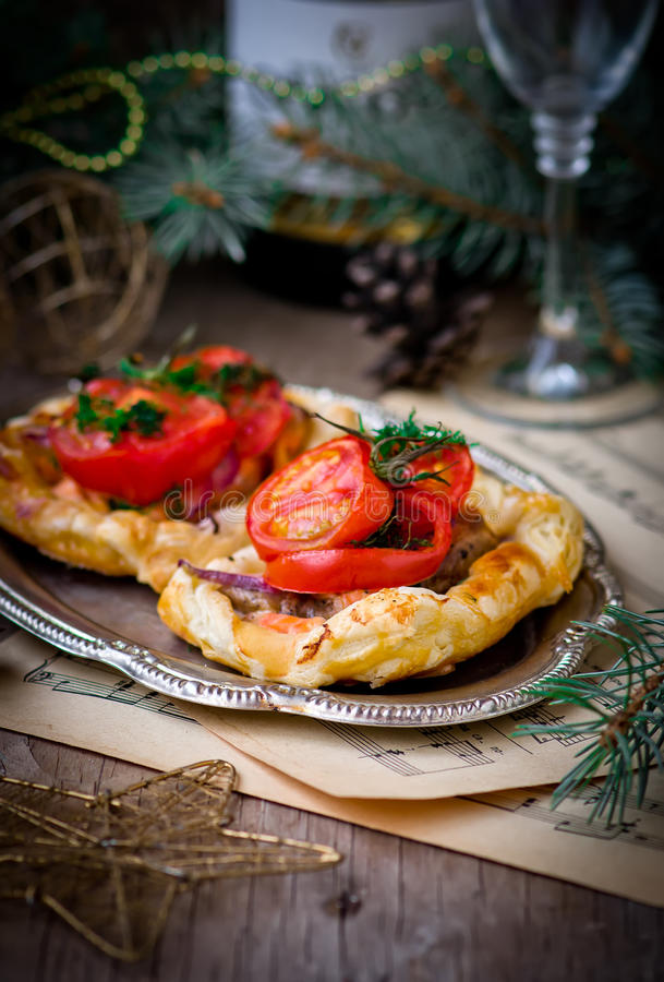 Fillet of a salmon in puff pastry royalty free stock photography