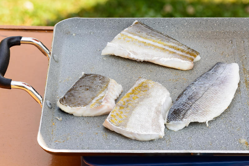 Fillet sea bream and codfish royalty free stock image