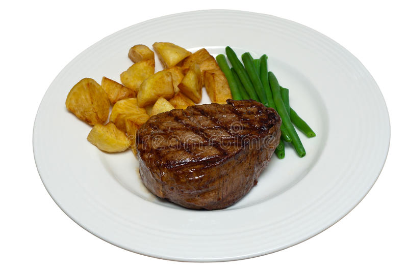 Fillet Steak with Beans and Potatoes on a White Plate. Fillet steak with green beans and saute potatoes on a white plate against an isolated white background stock photos
