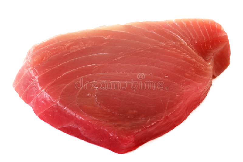 Fillet of Tuna Fish. Isolated on white background stock photo