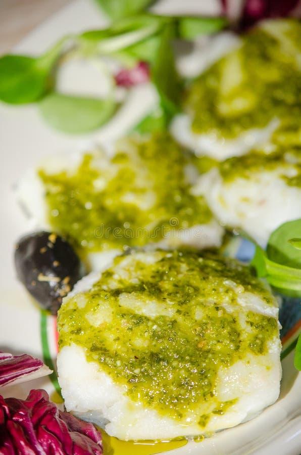 Fillets of seasoned cod stock photo