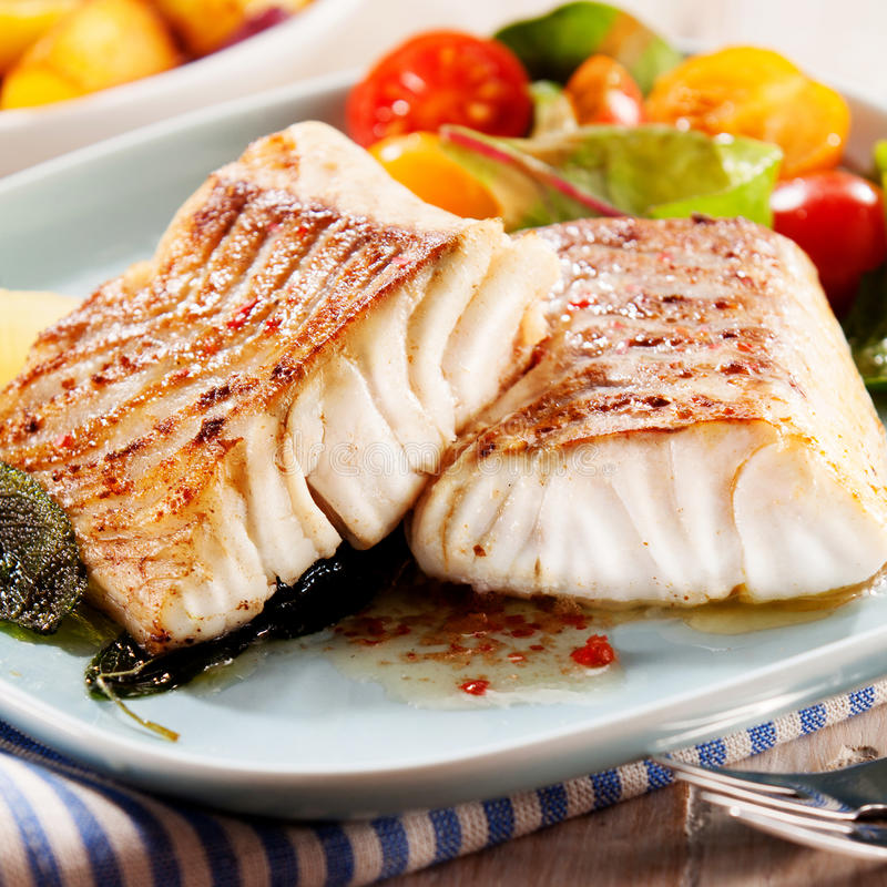 Fillets of savory marinated pollock. Two succulent fillets of savory grilled marinated pollock or coalfish served with a colorful fresh salad for a delicious royalty free stock image