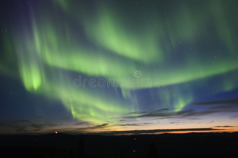 Filli the sky with northern light stock photo