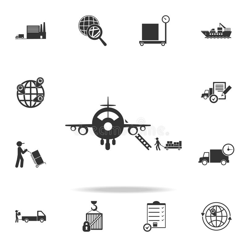 Filling an airplane with cargo icon. Detailed set of logistic icons. Premium graphic design. One of the collection icons for websi. Tes, web design, mobile app stock illustration