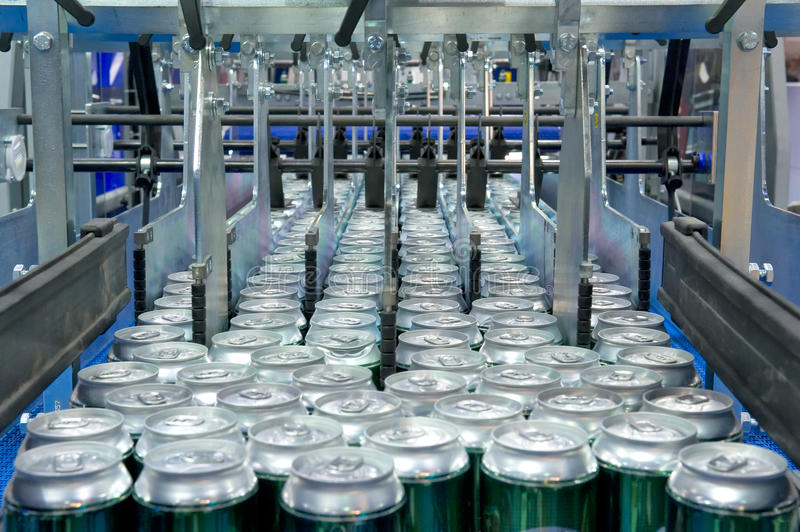 Download Filling of beverage cans stock image. Image of industry - 19691361