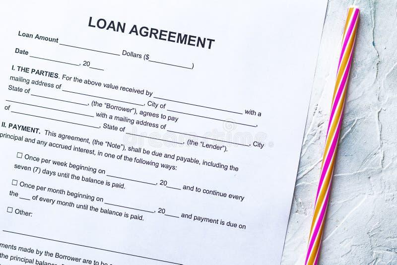 Blank Loan Agreement Form stock photos