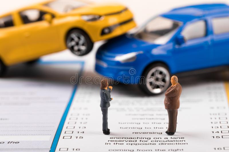 filling the car accident statement after crash stock photography