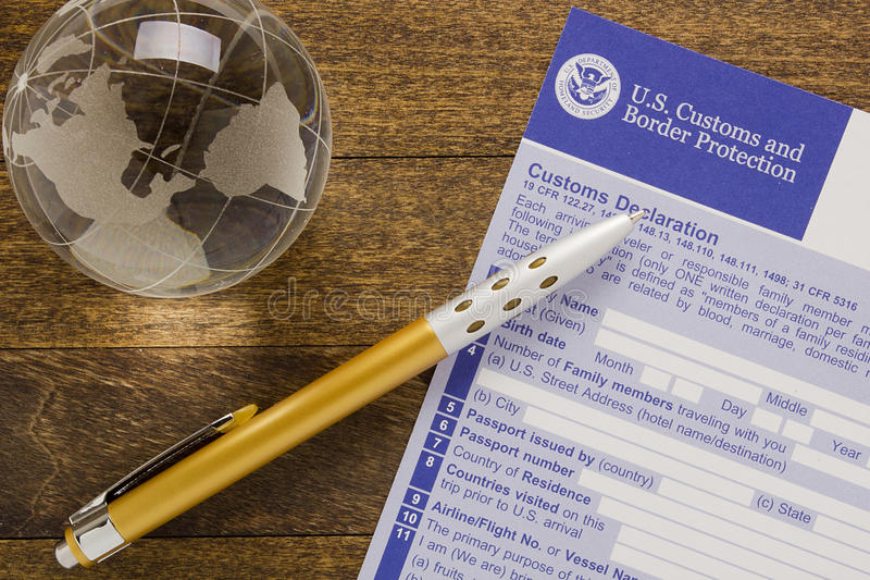 Filling in the customs declaration royalty free stock photography
