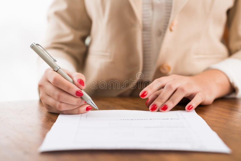 Filling the document royalty free stock image