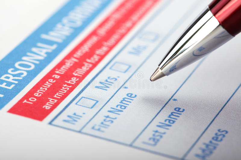 Filling Document Form royalty free stock photography