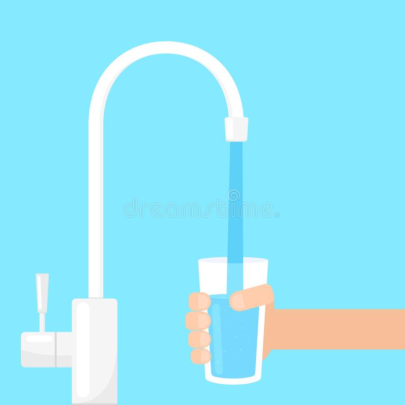 Filling glass with water from filter tap stock illustration
