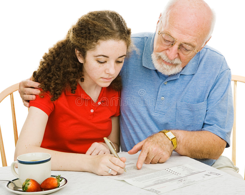 Filling Out Forms Together Stock Photography