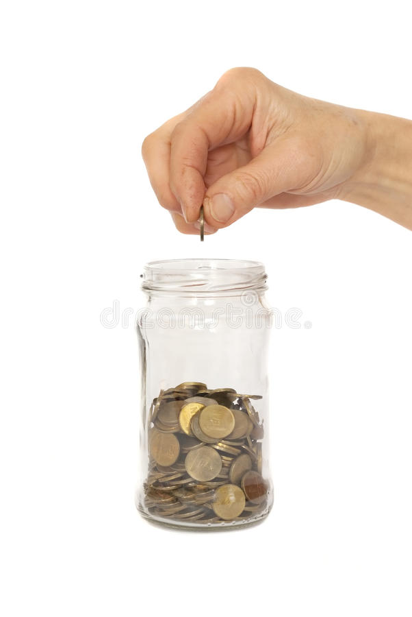 Free Filling The Coin Jar Royalty Free Stock Photography - 23492457