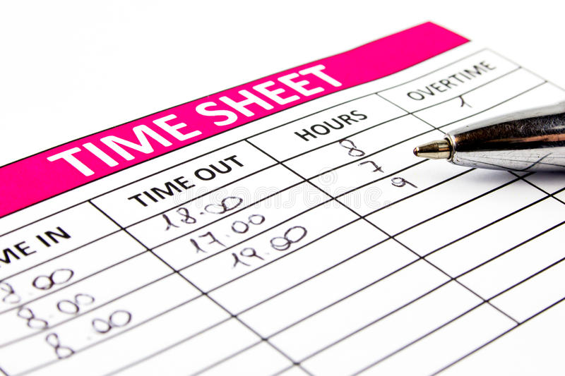 Filling Time Sheet. With hours royalty free stock images