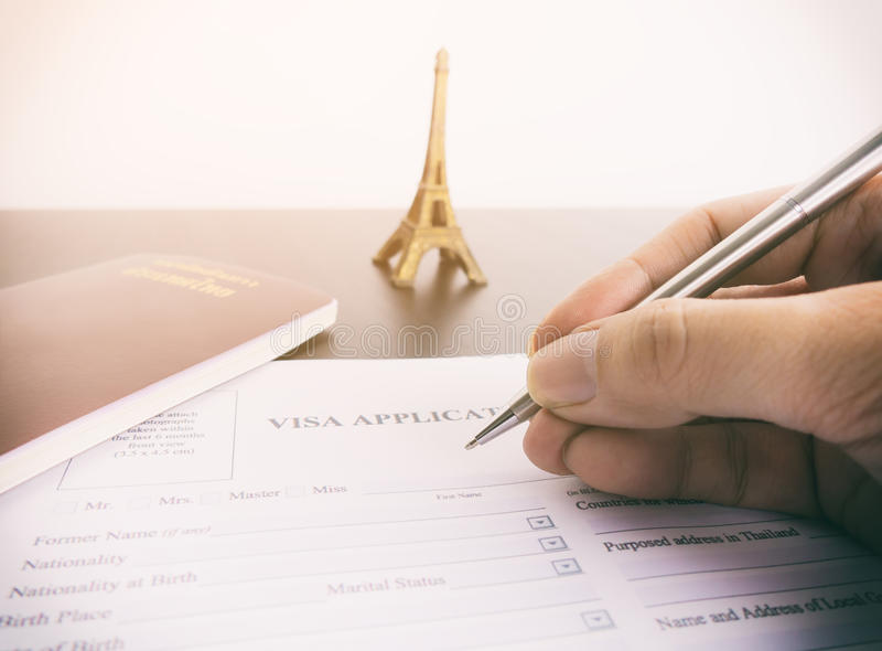 Filling Visa Application Form For France Stock Image - Image of ...